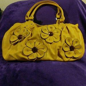 Handbags - Mustard Yellow Flower Purse